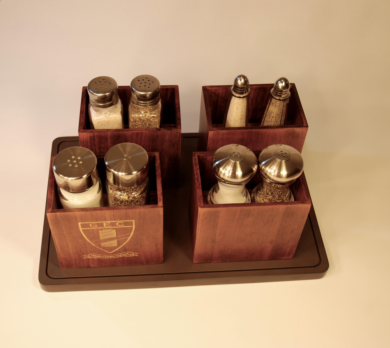wooden salt and pepper shaker holder set of   chef charger - wooden salt and pepper shaker holder set of